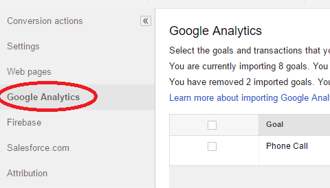import analytics goals into adwords